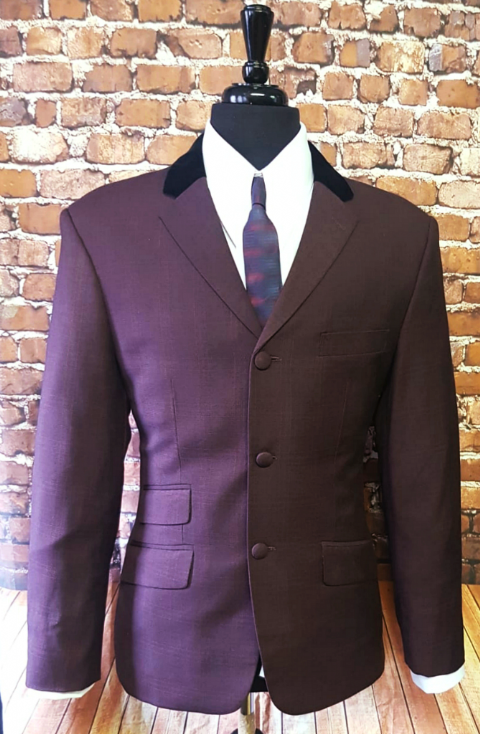 """Matt"" Deep Red & Black Check 3 Button Suit With Velvet Collar"
